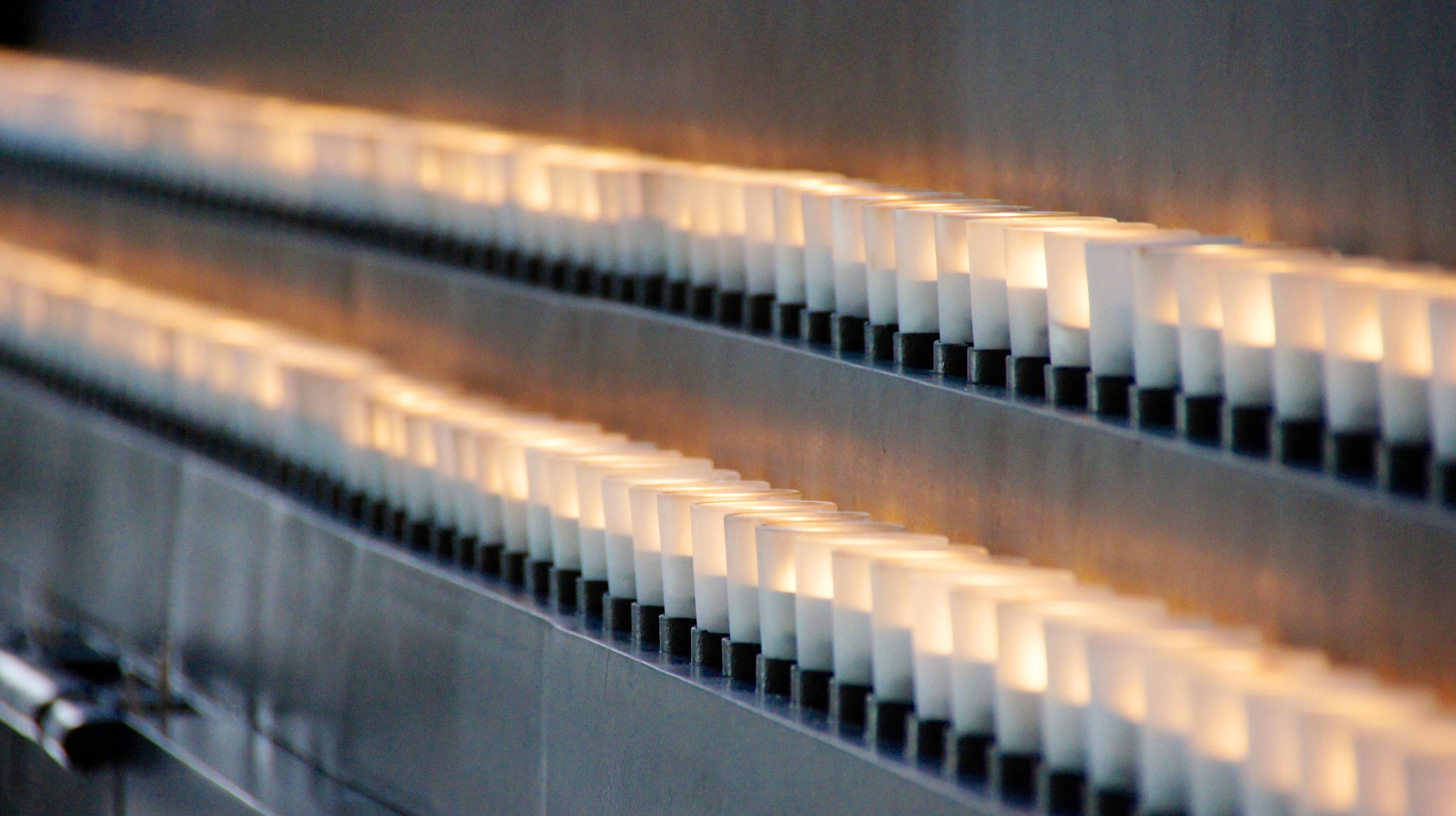 An arrangement of memorial candles