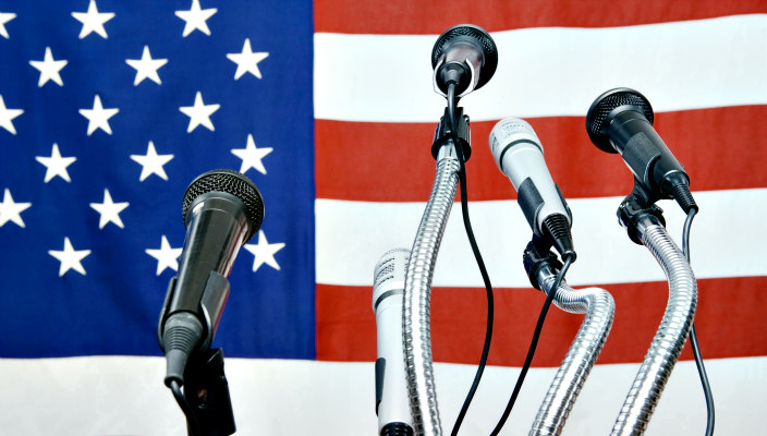 American flag and podium