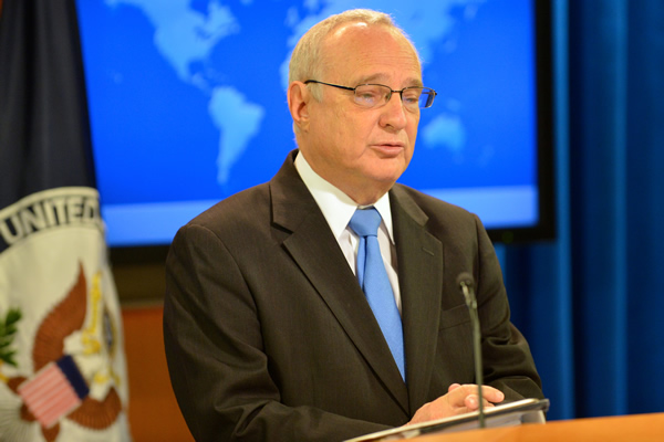 Ambassador Saperstein speaking at State Department about 2015 report