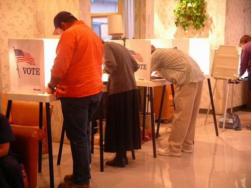 Voters casting ballots.