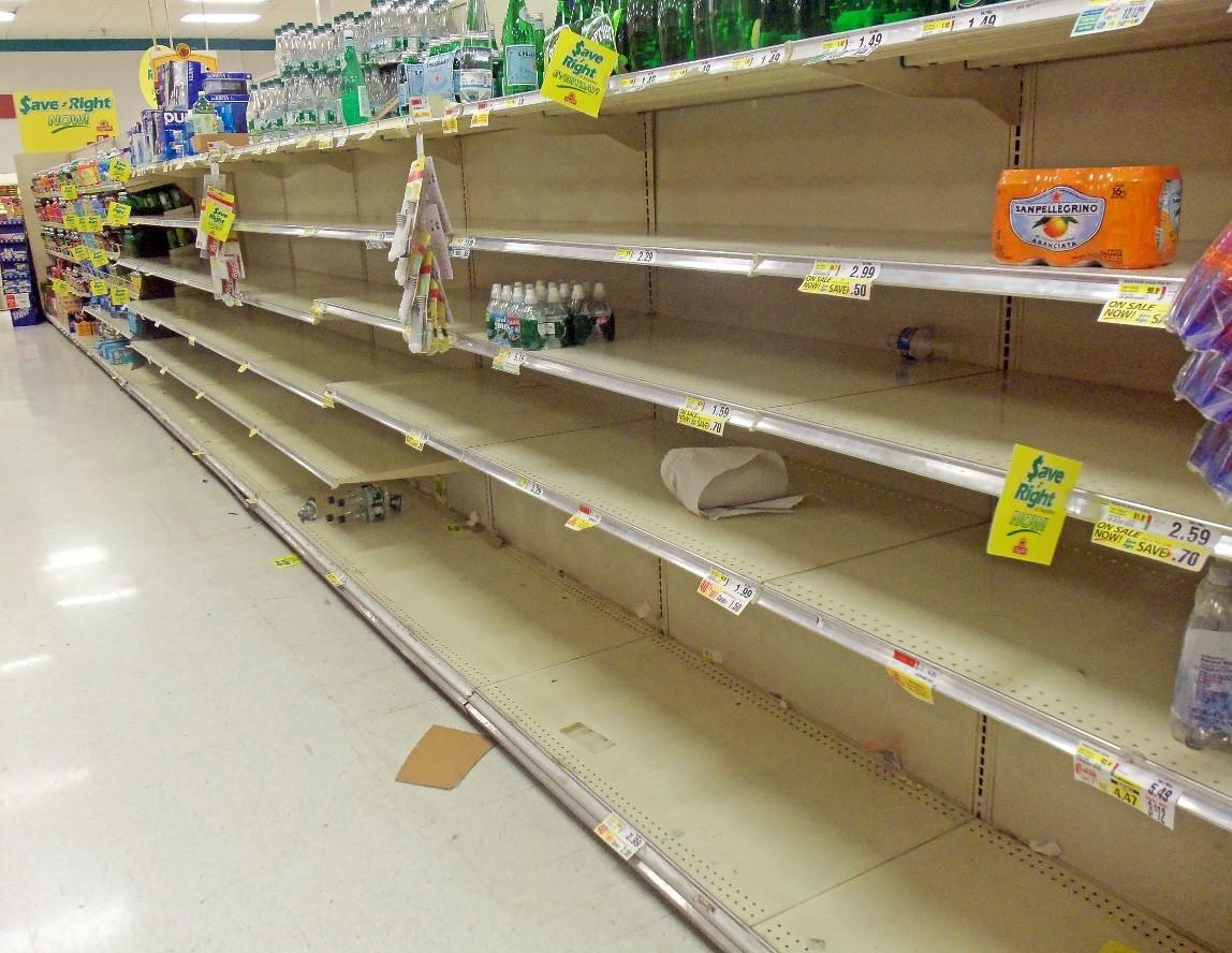 empty shelf in a supermarket