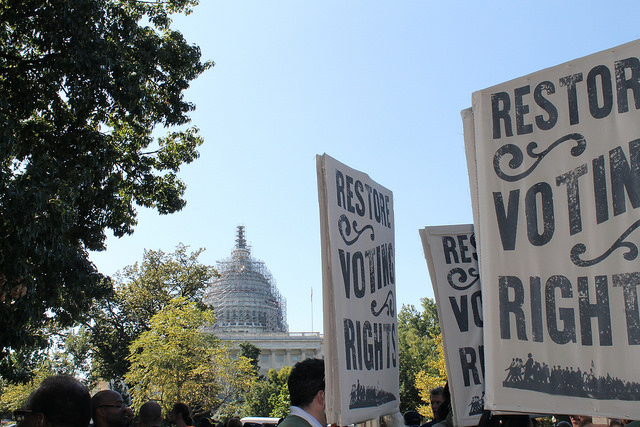 Voting rights signs at Capitol